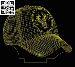 3D illusion led lamp cap E0013626 file cdr and dxf free vector download for laser engraving machines