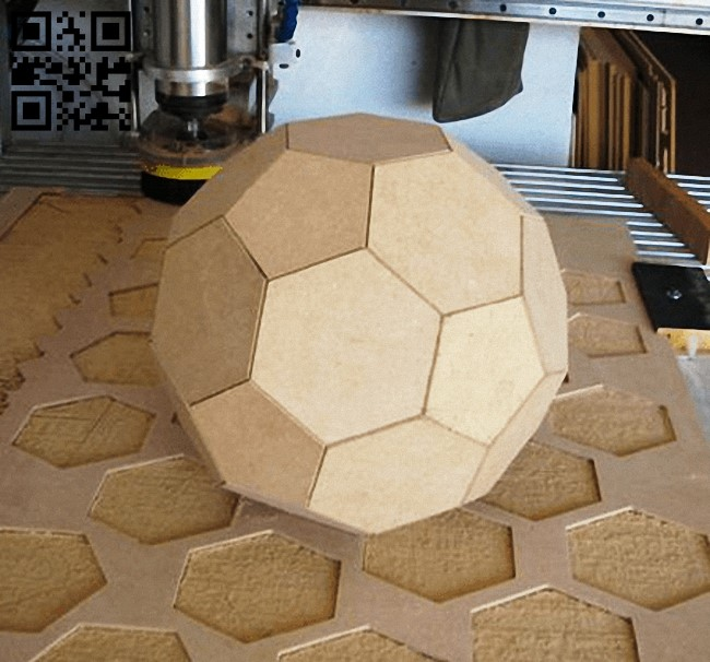 3D soccer ball E0013557 file cdr and dxf free vector download for laser cut