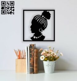 Afro lady face wall decor E0013665 file cdr and dxf free vector download for cnc cut plasma