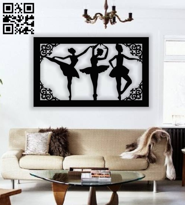 Ballerina panel E0013605 file cdr and dxf free vector download for laser cut plasma