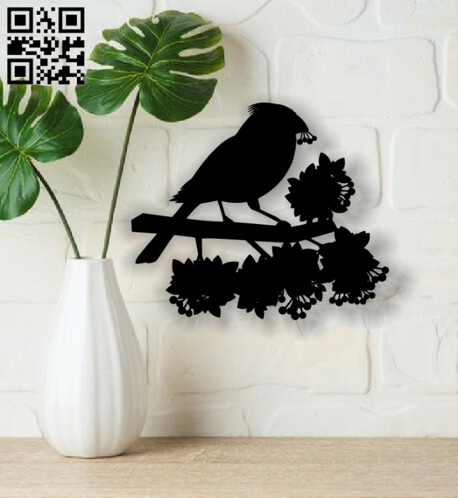 Bird with flower E0013673 file cdr and dxf free vector download for cnc cut plasma