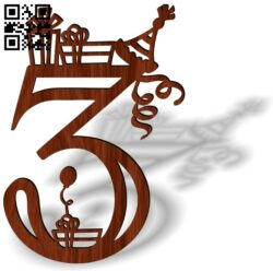 Birthday topper E0013695 file cdr and dxf free vector download for laser cut plasma