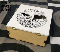 Box with tree E0013546 file cdr and dxf free vector download for laser cut