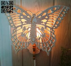 Butterfly lamp E0013564 file cdr and dxf free vector download for laser cut