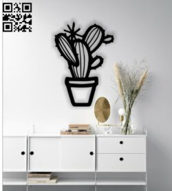 Cactus wall decor E0013649 file cdr and dxf free vector download for laser cut plasma