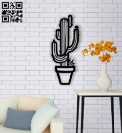 Cactus wall decor E0013705 file cdr and dxf free vector download for laser cut plasma