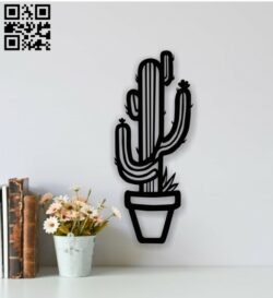 Cactus wall decor E0013711 file cdr and dxf free vector download for laser cut plasma