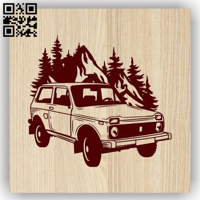 Car and mountain E0013570 file cdr and dxf free vector download for laser engraving machines