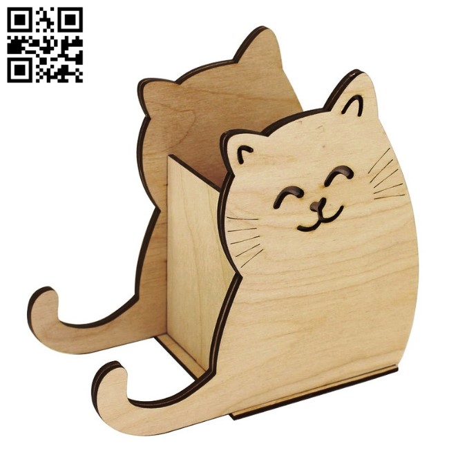 Cat pencil holder E0013569 file cdr and dxf free vector download for laser cut