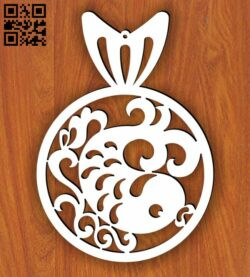 Christmas ball with fish E0013704 file cdr and dxf free vector download for laser cut