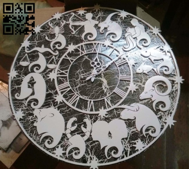 Clock Zodiac E0013562 file cdr and dxf free vector download for laser cut