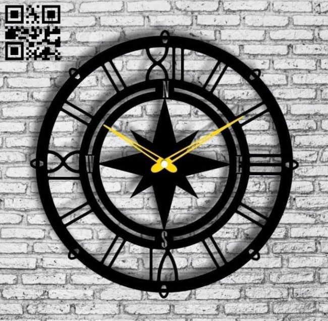Compass clock E0013514 file cdr and dxf free vector download for laser cut