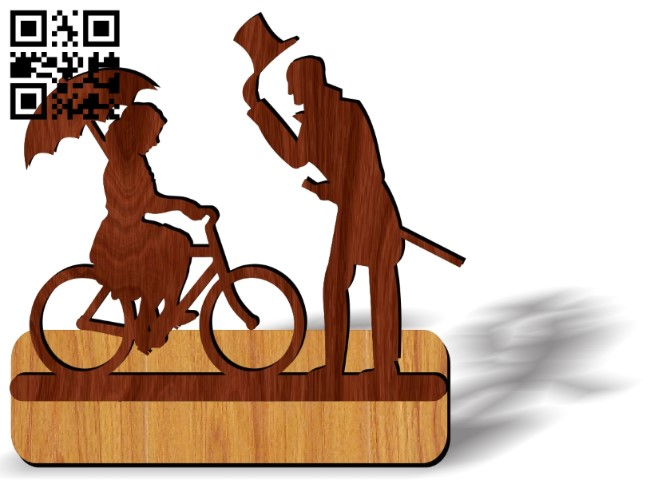 Couple on bicycle E0013703 file cdr and dxf free vector download for laser cut