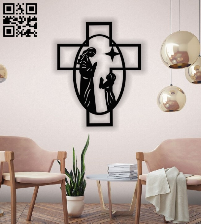 Cross with Jesus E0013520 file cdr and dxf free vector download for laser cut plasma