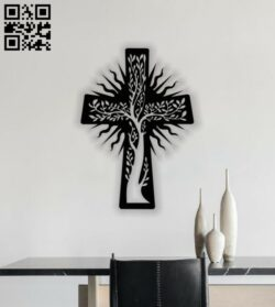 Cross with tree E0013519 file cdr and dxf free vector download for laser cut plasma