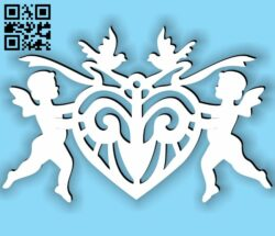 Cupid with heart E0013700 file cdr and dxf free vector download for laser cut