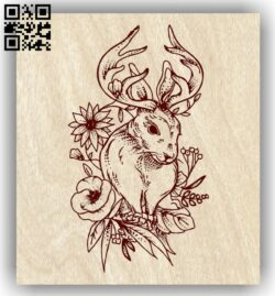 Deer with flower E0013637 file cdr and dxf free vector download for laser engraving machine