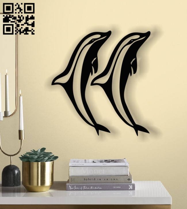 Dolphins pair E0013595 file cdr and dxf free vector download for laser cut plasma
