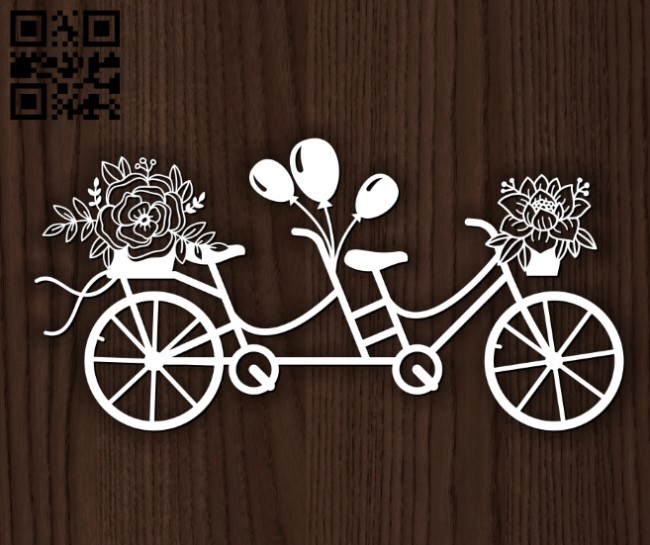 Double Bike E0013593 file cdr and dxf free vector download for laser cut
