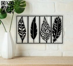 Feather wall decor E0013666 file cdr and dxf free vector download for cnc cut plasma