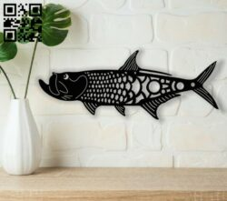 Fish art E0013661 file cdr and dxf free vector download for cnc cut plasma