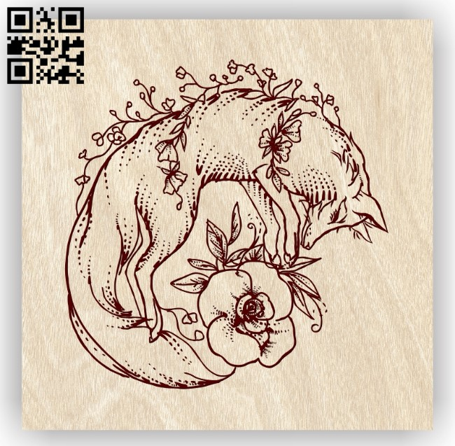 Fox with flower E0013636 file cdr and dxf free vector download for laser engraving machines