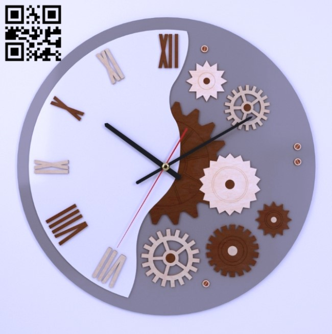 Gear clock E0013523 file cdr and dxf free vector download for laser cut