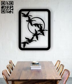 Geese goose wall art E0013552 file cdr and dxf free vector download for laser cut plasma