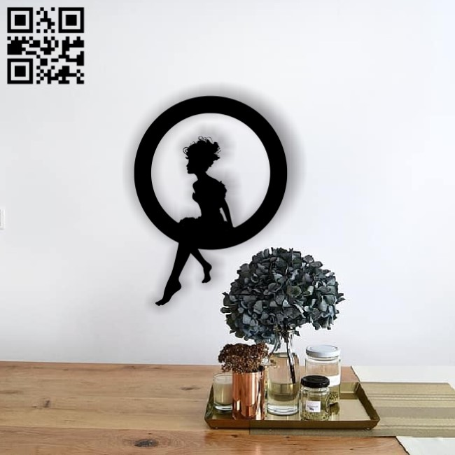 Girl with circle E0013684 file cdr and dxf free vector download for cnc cut plasma1