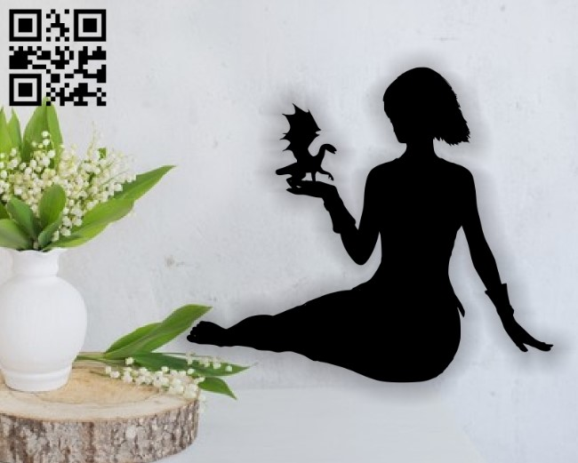 Girl with the baby dragon E0013677 file cdr and dxf free vector download for cnc cut plasma
