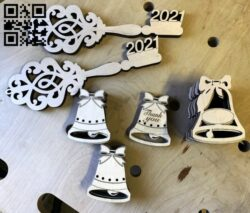 Graduation bell and key E0013629 file cdr and dxf free vector download for laser cut