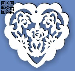 Heart rose E0013699 file cdr and dxf free vector download for laser cut