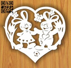 Heart with Rabbit E0013544 file cdr and dxf free vector download for laser cut