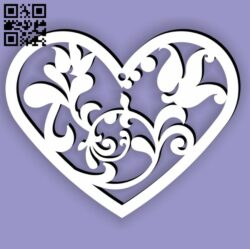 Heart with flower E0013698 file cdr and dxf free vector download for laser cut