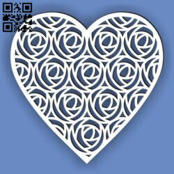 Heart with rose E0013543 file cdr and dxf free vector download for laser cut