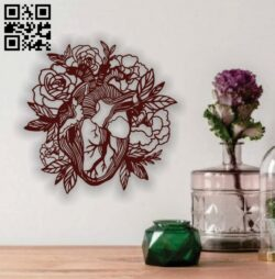 Heart with rose E0013701 file cdr and dxf free vector download for laser cut plasma