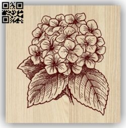 Hydrangea Flower E0013724 file cdr and dxf free vector download for laser engraving machine
