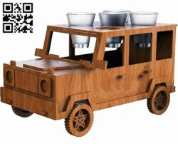 Jeep car minibar E0013654 file cdr and dxf free vector download for laser cut