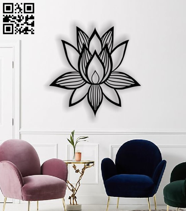 Lotus flower E0013627 file cdr and dxf free vector download for laser cut plasma