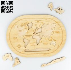 Map puzzle E0013515 file cdr and dxf free vector download for laser cut