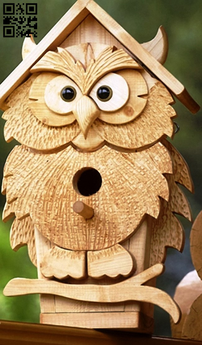 Owl birdhouse E0013696 file cdr and dxf free vector download for laser cut