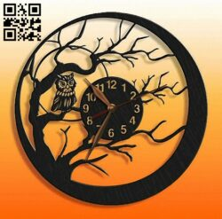 Owl clock E0013693 file cdr and dxf free vector download for laser cut