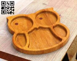 Owl tray  E0013657 file cdr and dxf free vector download for cnc cut