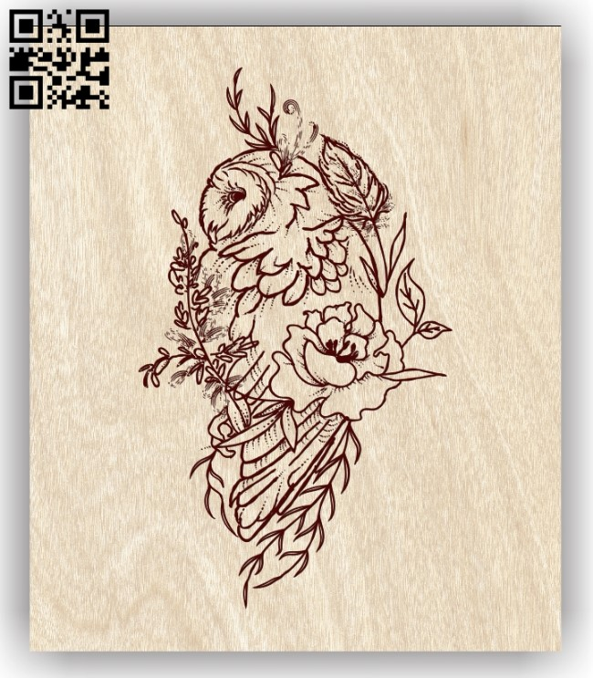Owl with flower E0013638 file cdr and dxf free vector download for laser engraving machine