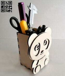 Pencil holder panda E0013508 file cdr and dxf free vector download for laser cut