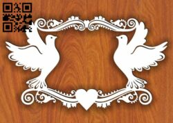Pigeon monogram E0013607 file cdr and dxf free vector download for laser cut