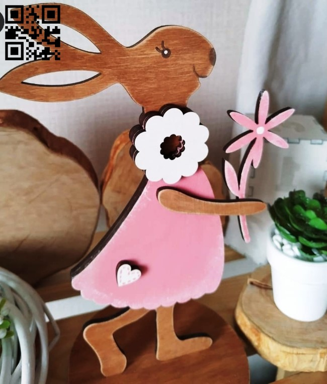 Rabbit with flower E0013652 file cdr and dxf free vector download for laser cut