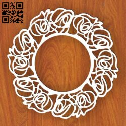 Rose frame E0013579 file cdr and dxf free vector download for laser