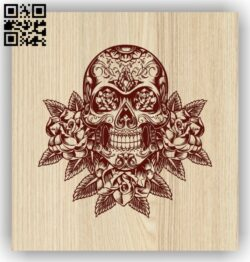 Skull with flower E0013640 file cdr and dxf free vector download for laser engraving machine