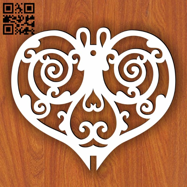 Spiral heart E0013697 file cdr and dxf free vector download for laser cut